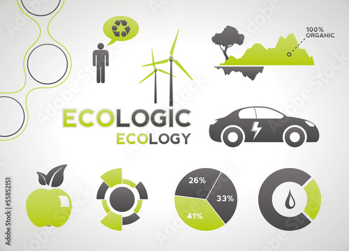 Ecology infographic elements and icons