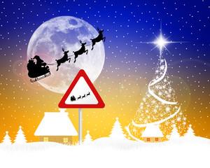 Sleigh of Santa Claus silhouette