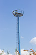 Blue observation tower over  blue sky