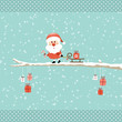 Santa Candy Cane Pulling Sleigh Gift Tree Retro Dots