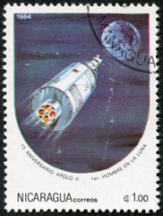 Stamp printed in Nicaragua shows Moon expedition of Apollo II