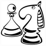 chess pawn and knight on white background