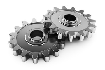 Group gears with teeth. Parts of the mechanism transmission.