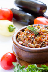 Eggplant caviar in the rustic bowl