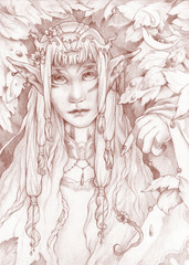 Portrait of an aristocrat elf in the forest.