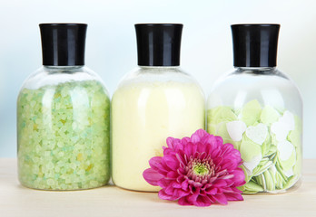 Aromatherapy minerals - colorful bath salt on light background