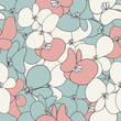 Cute flowers seamless pattern. Vector floral motive
