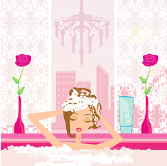 Woman washing hair in bubble bath.