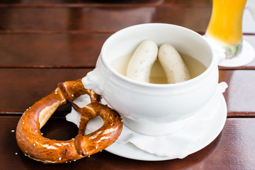 Bavarian Weisswurst, Pretzel and Beer