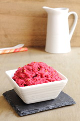 Beetroot and chickpea hummus dip