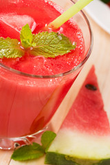 Glass of fresh watermelon juice