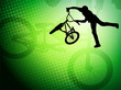 bmx stunt cyclist silhouette on the abstract background - vector