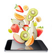 Tablet fruits and tablet, isolated. Recipes application concept.