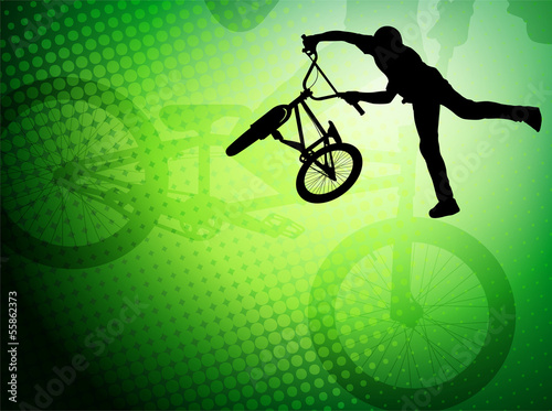 Fototapeta bmx stunt cyclist silhouette on the abstract background - vector