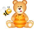 Obrazy na płótnie, fototapety, zdjęcia, fotoobrazy drukowane : Teddy bear eats honey and bee angry