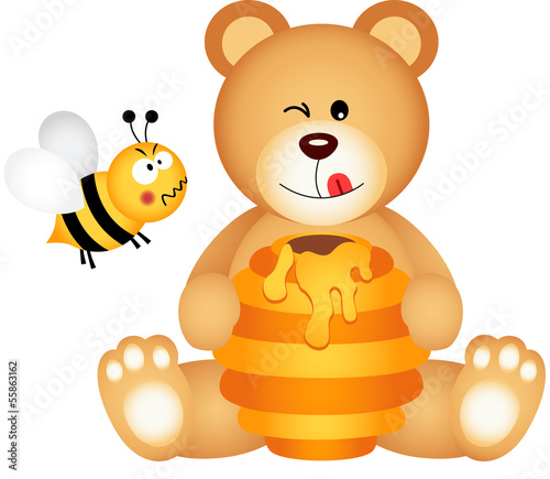 Teddy bear eats honey and bee angry