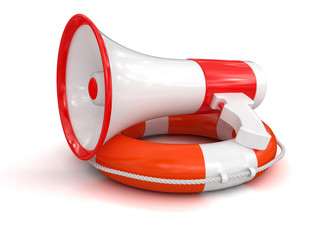 Megaphone and Lifebuoy (clipping path included)