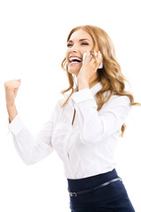 Happy gesturing businesswoman with phone