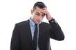 Mann isoliert hat Kopfschmerzen - Manager im Anzug