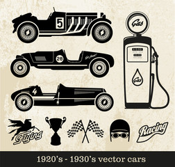 illustrated vector file of old formula 1 racing cars