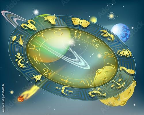Постер, плакат: Круг зодиака в пространстве, холст на подрамнике