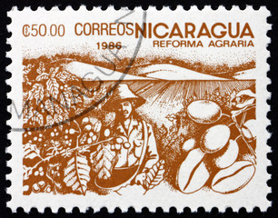 Postage stamp Nicaragua 1986 Coffee Beans, Agrarian Reform