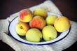 Peaches, freshly harvested sweet organic fruit