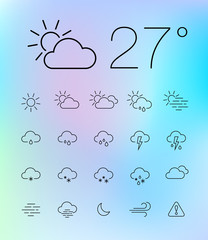 Thin weather icon set on blurry background