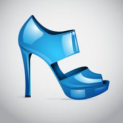 Vector blue shiny high heel shoe with diamonds