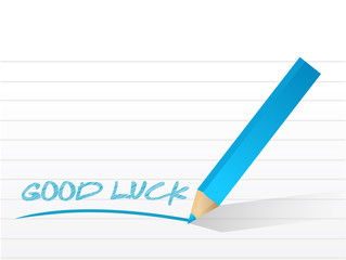 good luck message written