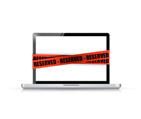 laptop with a reserved red tape illustration