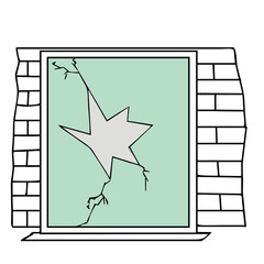 broken window vector illustration