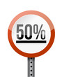 50 percentage road sign illustration design