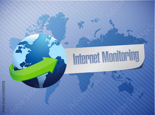 internet monitor concept and globe.
