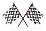 Checkered finish flags for racing isolated on white