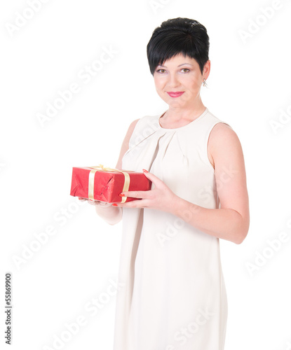 Business woman happy smile hold gift box in hands.