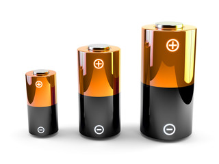 Batteries. Sources of electric power of different sizes.