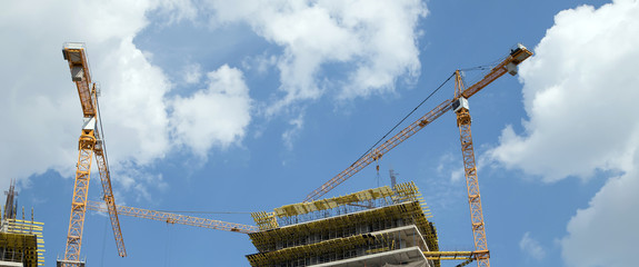 Cranes on a construction site. Industrial image