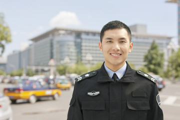 Police Officer Smiling, Portrait, China