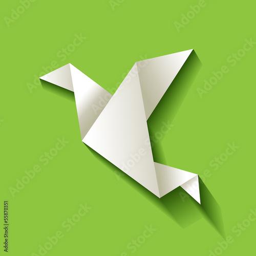 Freelancer Vogel Origami Hintergrund Grün
