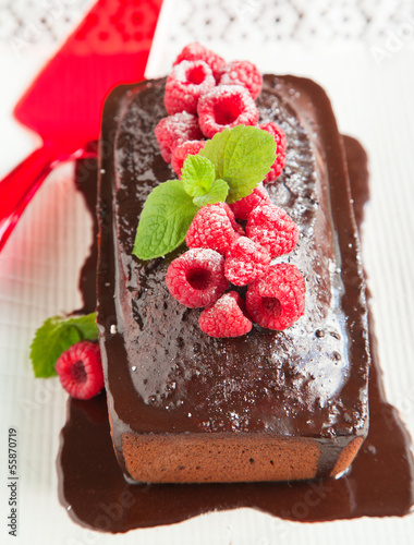Chocolate loaf cake with chocolate frosting and raspberry