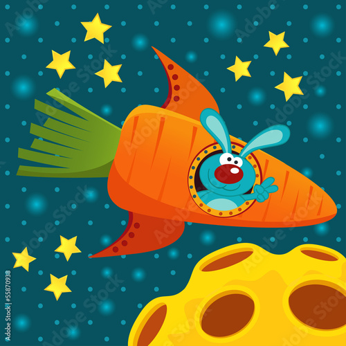 rabbit on a rocket of carrot - vector illustration