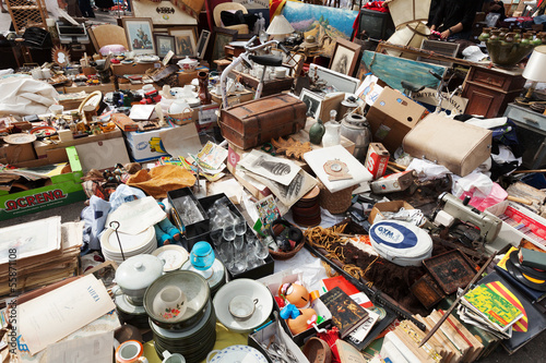 Old things at Encants Vells flea market. Barcelona