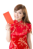 red envelope Chinese woman