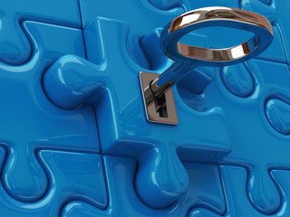 Key and blue puzzle pieces