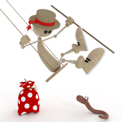 The 3D little man on a swing.