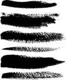 Black brush vector strokes set
