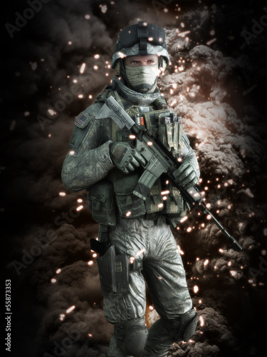 American soldier with a battlefield background. 3d model scene