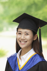 Young Woman Graduating From University, Close-Up Vertical Portrait