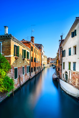 Venice cityscape, water canal, bridge and buildings. Italy